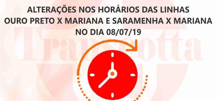 Alterações nos horários das linhas Ouro Preto x Mariana e Saramenha x Mariana