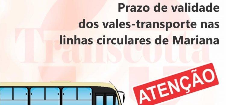Prazo de validade dos vales-transporte nas linhas circulares de Mariana