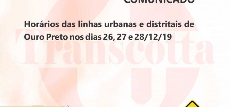 Horários das linhas urbanas e distritais de Ouro Preto nos dias 26, 27 e 28/12/19