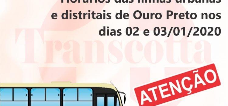 Horários das linhas urbanas e distritais de Ouro Preto nos dias 02 e 03/01/2020